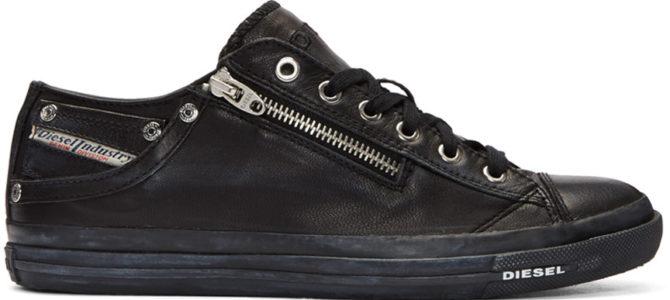 Diesel Expo Zip Black Womens Leather Lo
